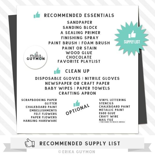 Wood Cutout Supply List