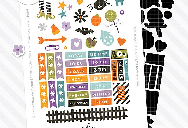 Free Digital Halloween Planner Stickers | Boo To You | Erika Guymon