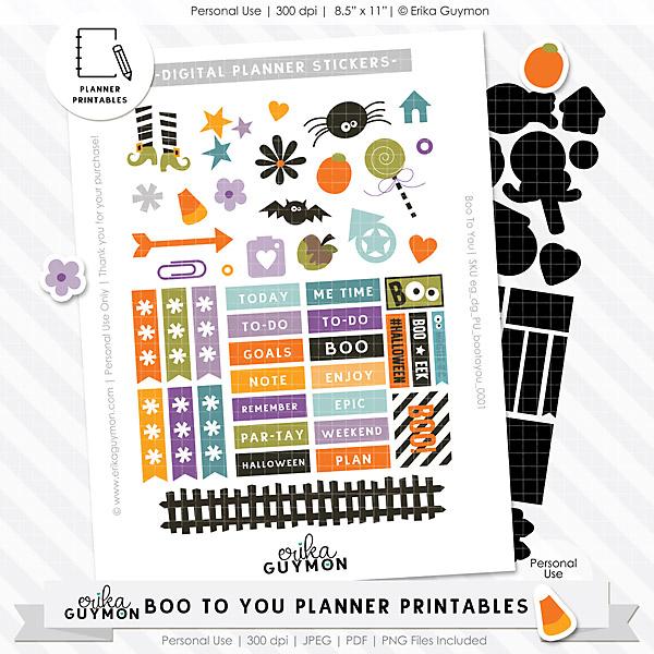 Free Digital Halloween Planner Stickers | Boo To You | Erika Guymon