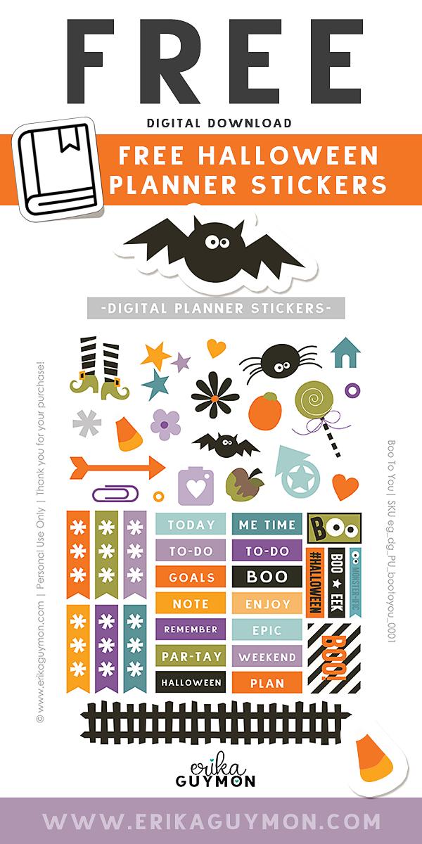 FREE Halloween Planner Stickers | Erika Guymon