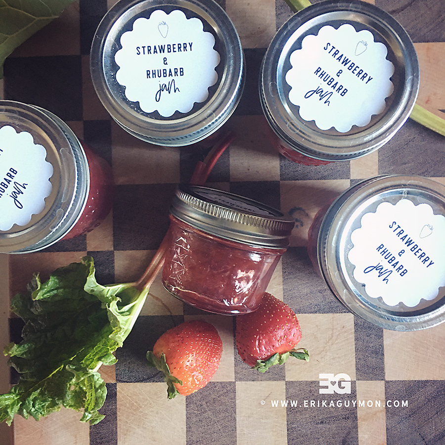 Food Image featuring fresh rhubarb, strawberries, and homemade jam