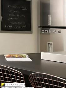 Detalhe da cozinha aberta com lousa para o menu do dia - Projeto Erika Karpuk