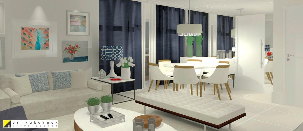 A sala de estar e jantar integradas. Onde suas cores se equilibram no fundo off-white com azul marinho e vermelho.Apartamento Clássico Contemporâneo em SP projeto Erika karpuk