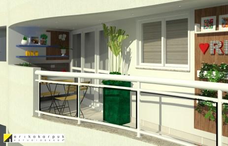 Varanda pequena, mas com infraestrutura para churrasco e convidados. Apartamento no RJ. Por Erika Karpuk