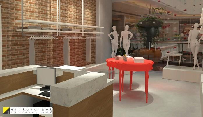 Marroc. Loja feminina. Cimento, tijolinho à vista e o branco foram as cores escolhidas como base. O destaque acontece nas mesas de exposição no tom Coral, completando essa decoração urbana e feminina. Projeto Erika Karpuk
