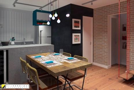 Sala de jantar e cozinhas integradas recebem os moradores e convidados. O volume arquitetônico do lavabo foi destacado com a tinta de lousa. Sobrado pequeno ao estilo industrial em SBC projeto Erika karpuk
