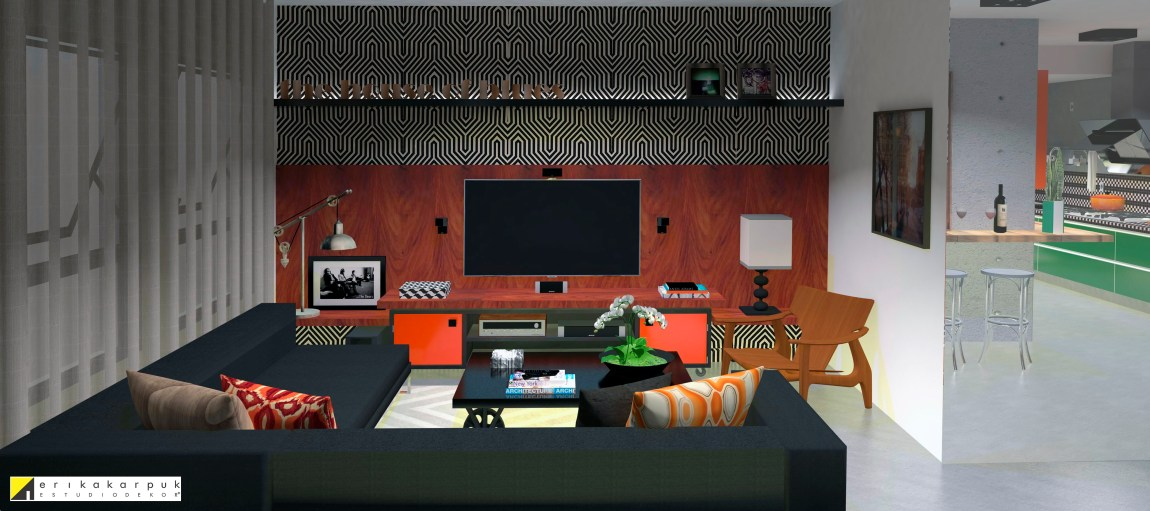 Sala de TV e música. the house of blues - ap maxhaus -projeto erika karpuk