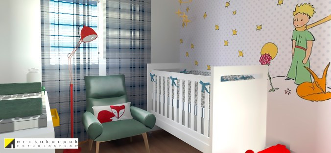 Quarto de bebê Pequeno Principe Projeto Erika Karpuk