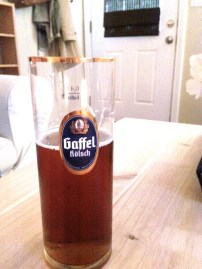 German glass we won at trivia once! (with authentic German beer inside)