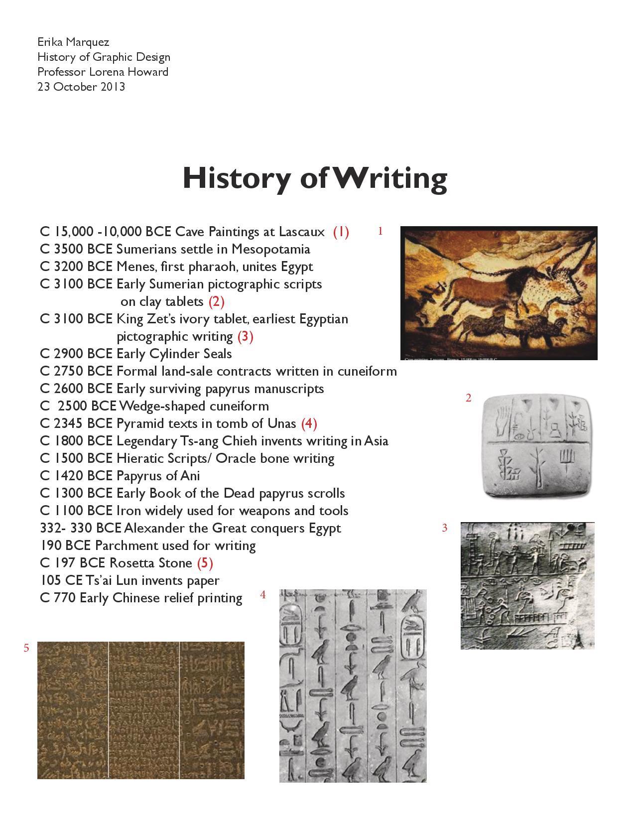 Gdes History Writing Timeline