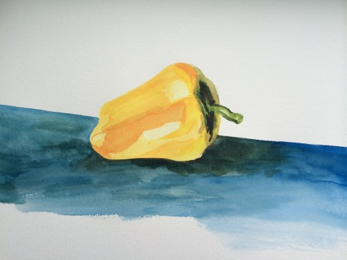 Yellow pepper- first painting of the day.