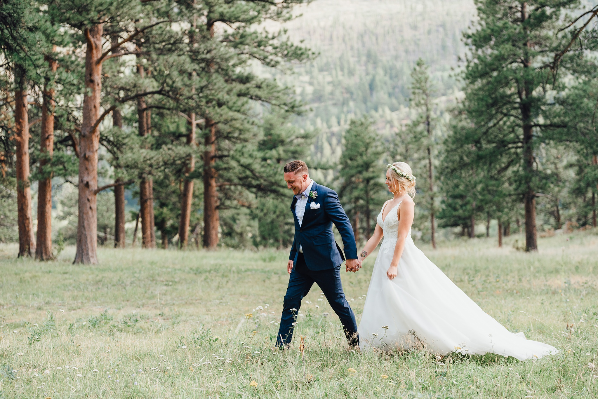 flower crown bride, boho bride, della terra mountain chateau wedding in summer