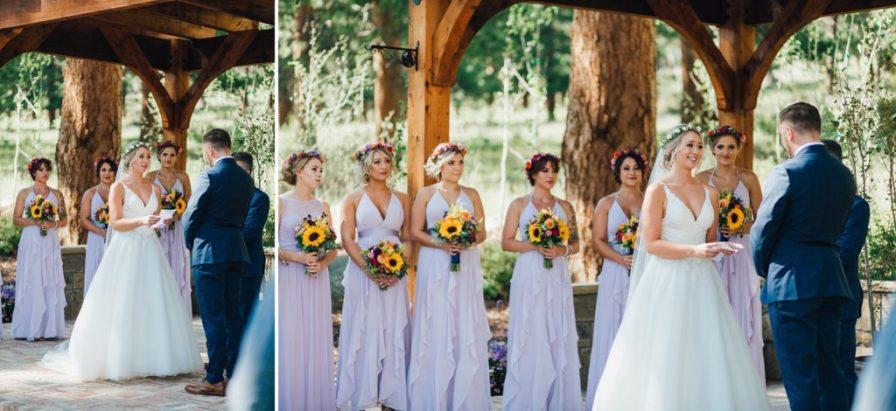 brides reaction during vows