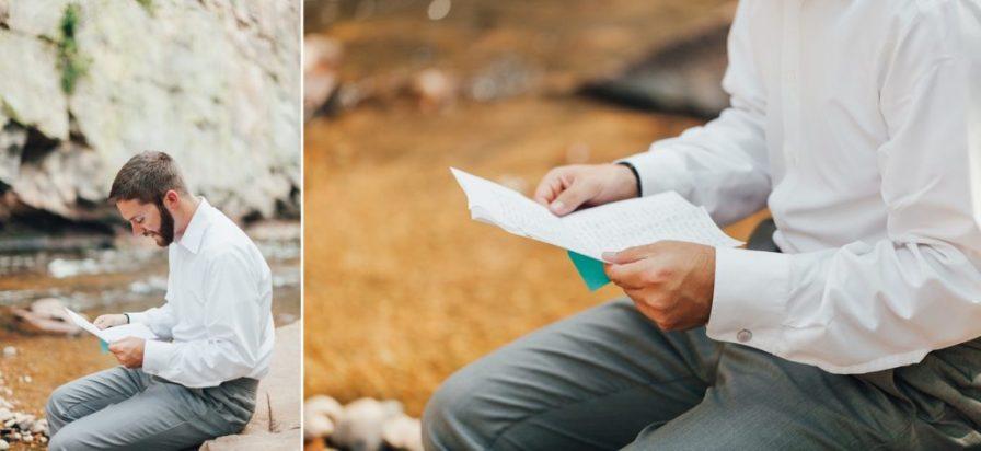 groom reading bride's note