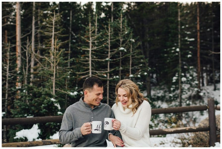 Engagement photos with coffee cups