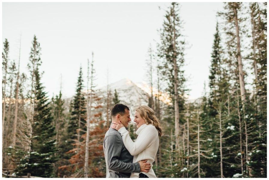 Snowy engagement session in Rocky Mountain National Park