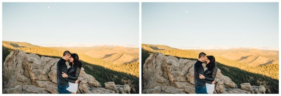The moon was still in the sky when we took these engagement photos at sunrise at Lost Gulch. Photos by Erika Overholt Photography.