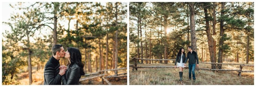 Couple walking through evergreen trees at sunrise in Boulder, Colorado. Photos by Erika Overholt Photography.