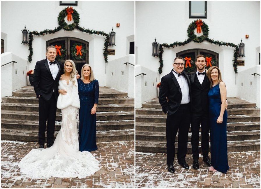 Bride with her parents and groom with his parents in front of of the Vail Interfaith Chapel for their snowy winter elopement