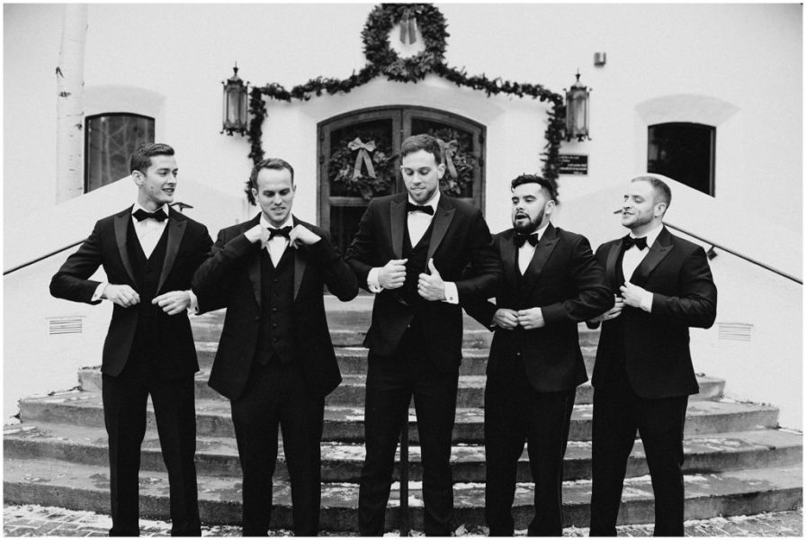 Groom with his guys relaxing a bit