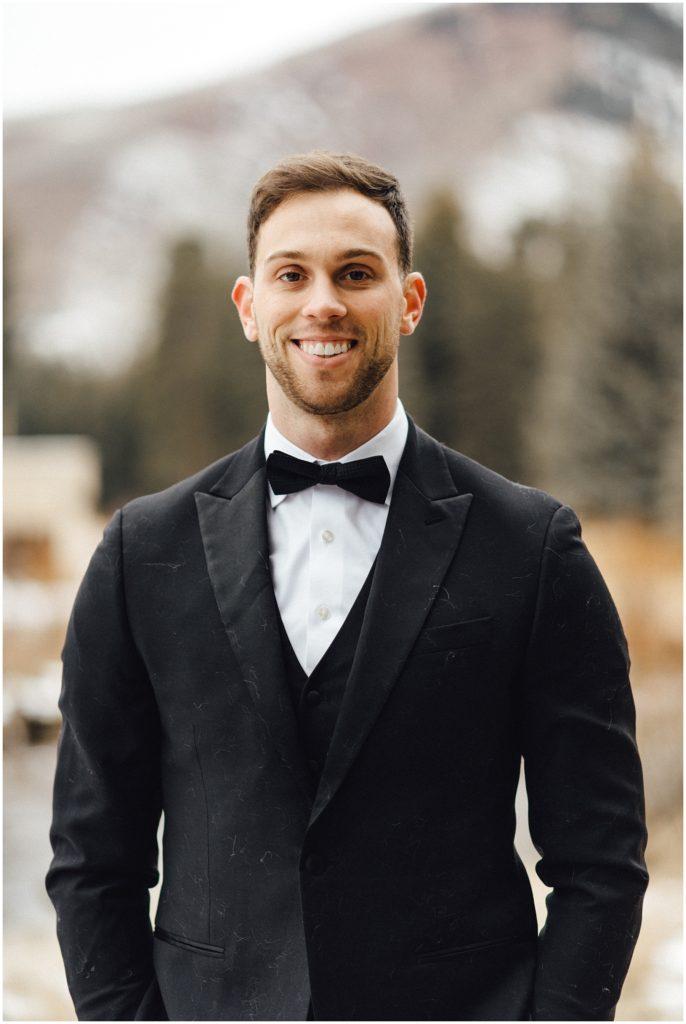 Groom at elopement in Vail Colorado