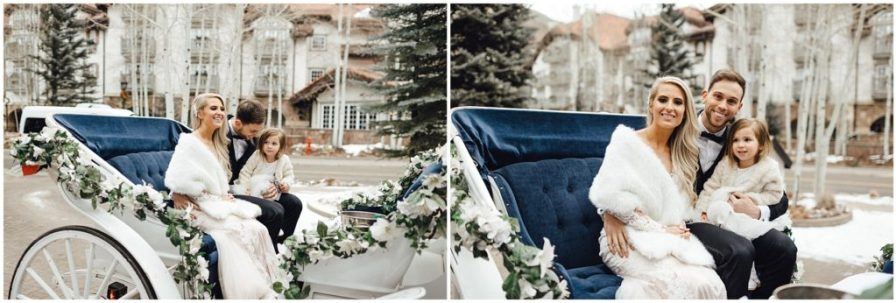 Snowy winter elopement ends with a horse and carriage ride in Vail Colorado