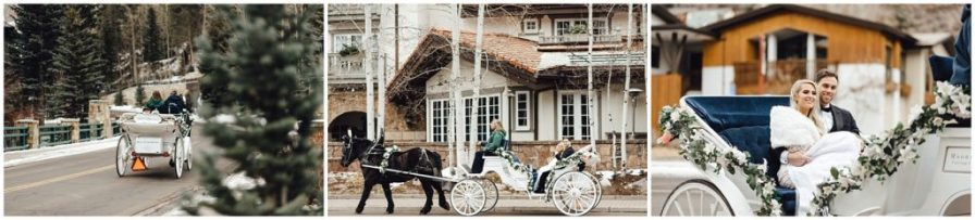 Awesome day for a carriage ride after this couples snowy winter wedding in Vail Colorado