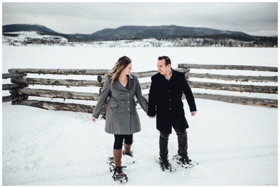 Adventurous snowshoeing engagement photos