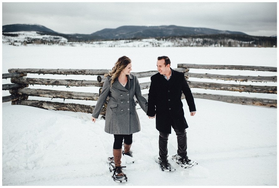 Adventurous snowshoeing engagement photos