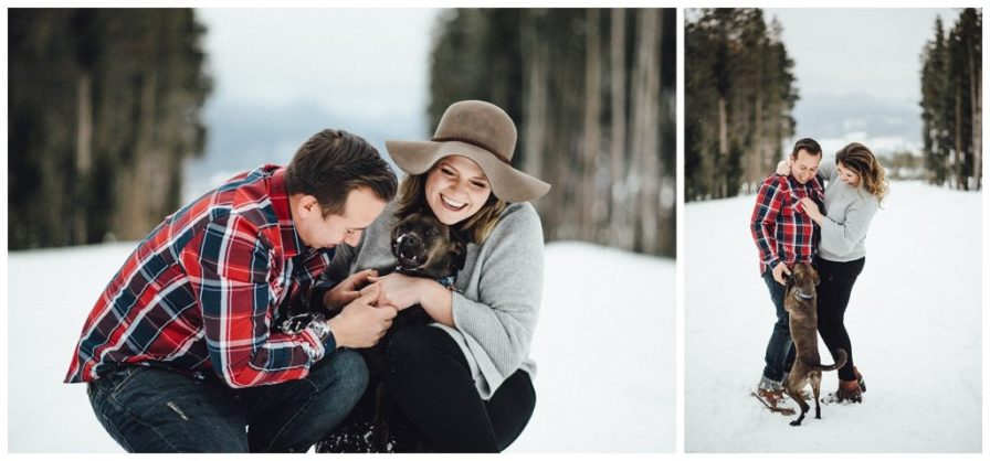 Adventurous couple with their dog for snowy engagement photos in Winter Park Colorado