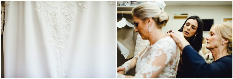 Bride getting ready for her wedding, with some help from family and friends