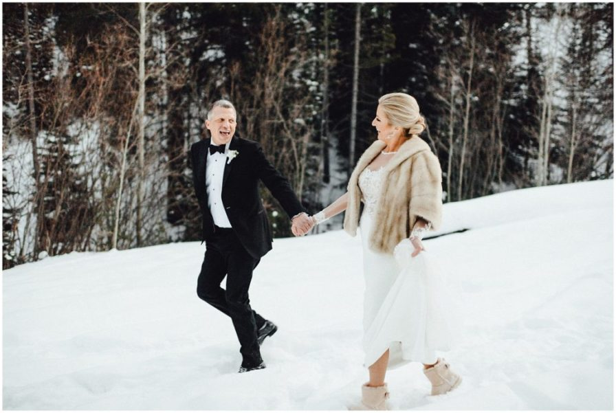 A fun little hike for the bride and groom at their Breckenridge winter wedding.