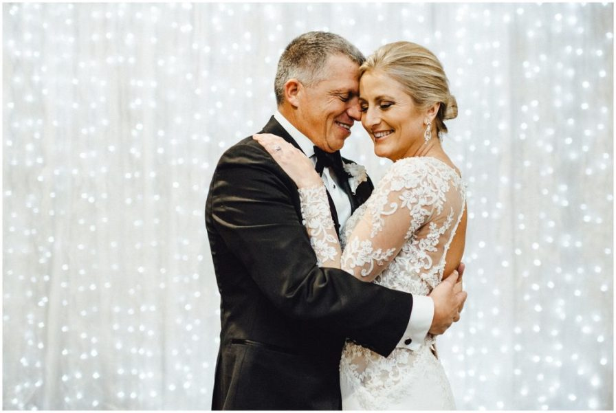 This happy couple enjoying their first dance together.