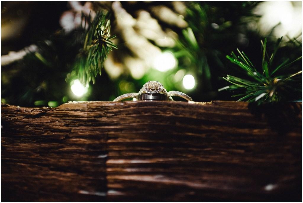 Wedding rings at this winter wedding in Breckenridge.