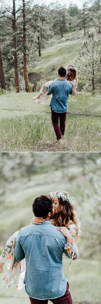 Boho styled engagement photos, barefoot photos, flower crown ideas
