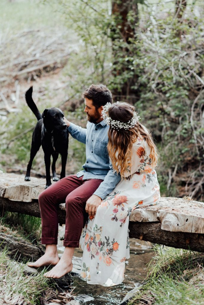 This couple wanted to include their dog in their engagement photos