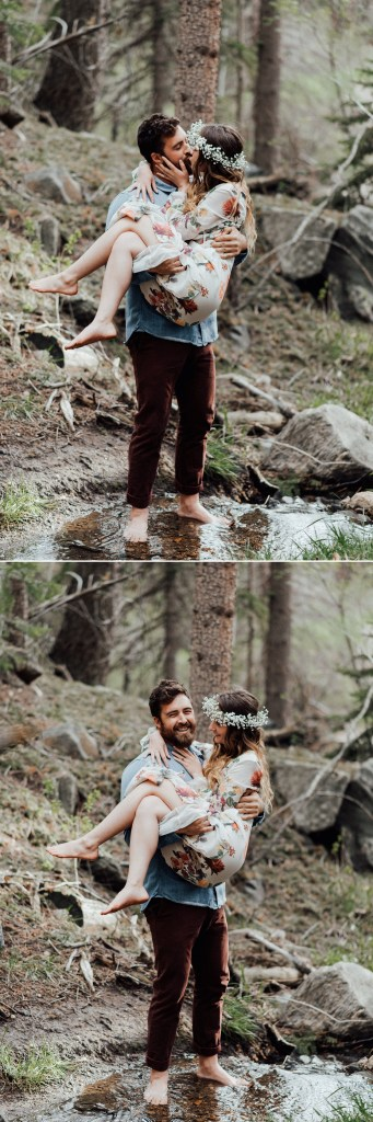 Getting into the stream barefoot