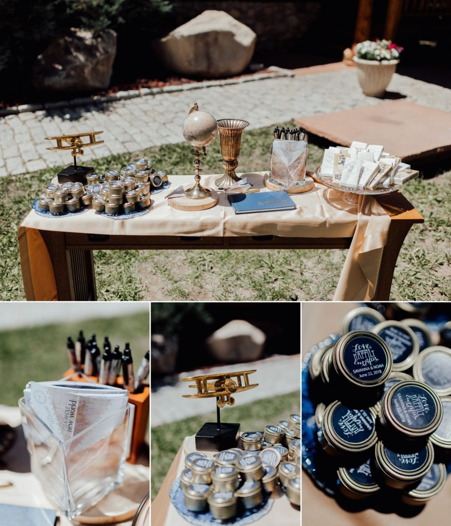 Guest table ideas, travel themed wedding, airplane themed wedding,, golden and navy wedding colors