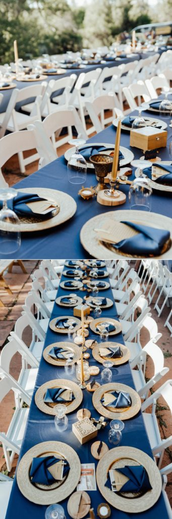 Family style tables for this backyard wedding in Salida
