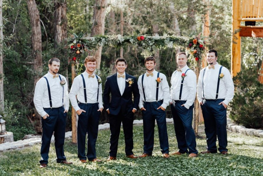 Navy groom suit and groomsmen pants