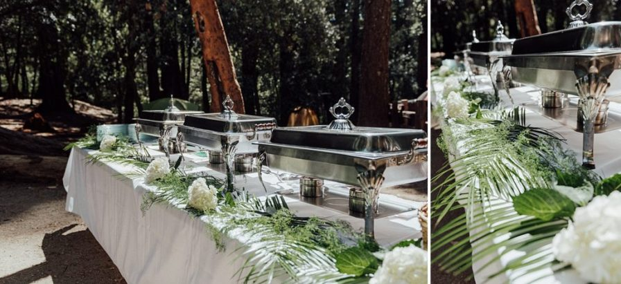Glam camping wedding catering setup
