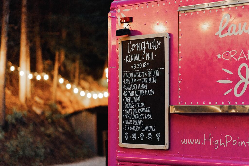Wedding dessert ideas, ice cream truck for wedding dessert