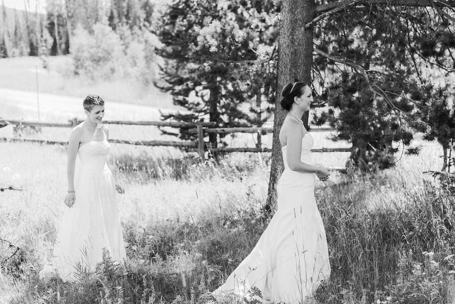 Brides about to have their first look