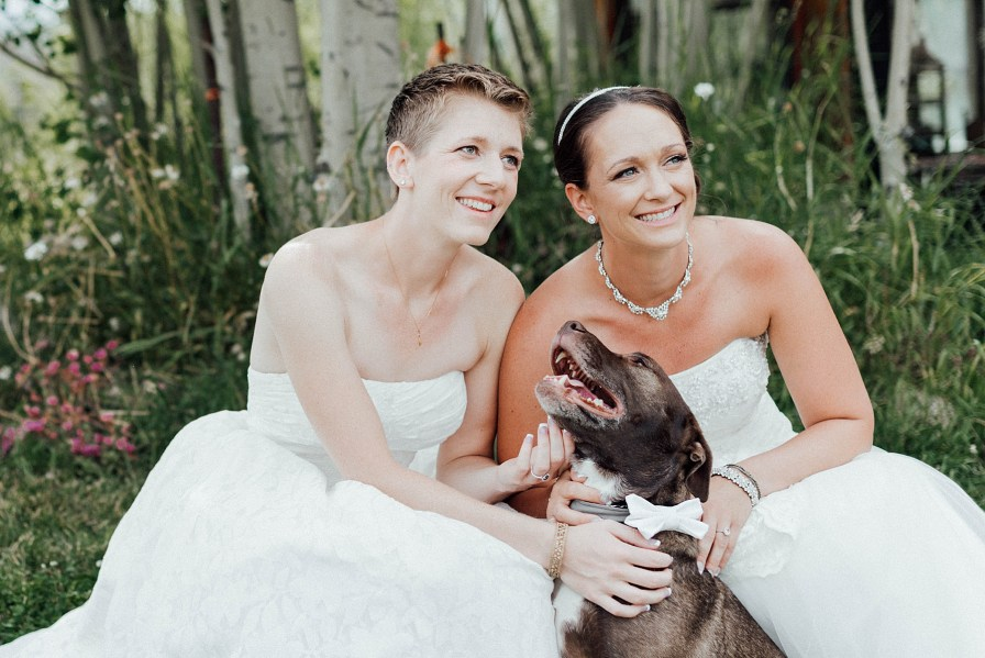 Brides with their dog
