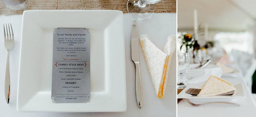 Wedding guest menus