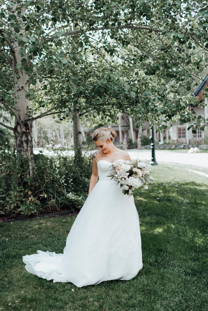 Strapless wedding dress, empire line wedding dress, sweetheart top wedding dress