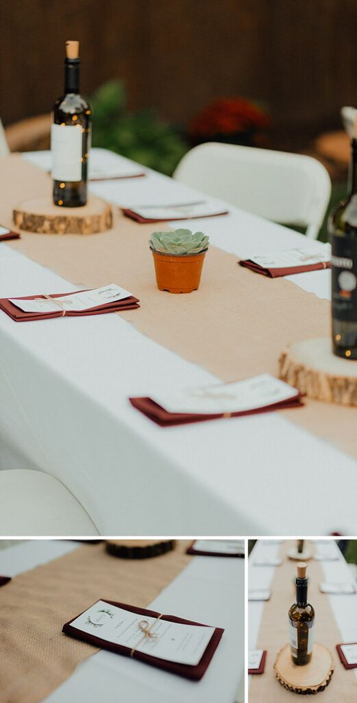 Wedding menu ideas, wedding centerpieces, centerpiece ideas, boho centerpieces, succulent centerpieces, wine bottle wedding decorations