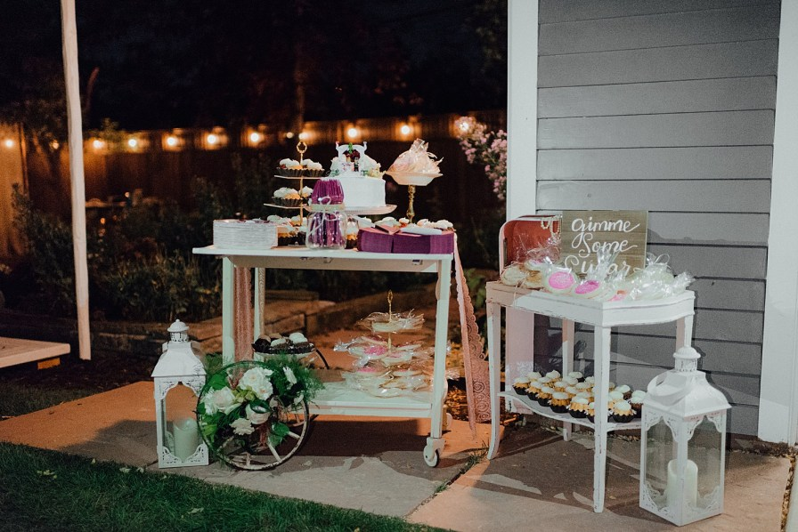 Backyard wedding dessert table, dessert table ideas, dessert cart