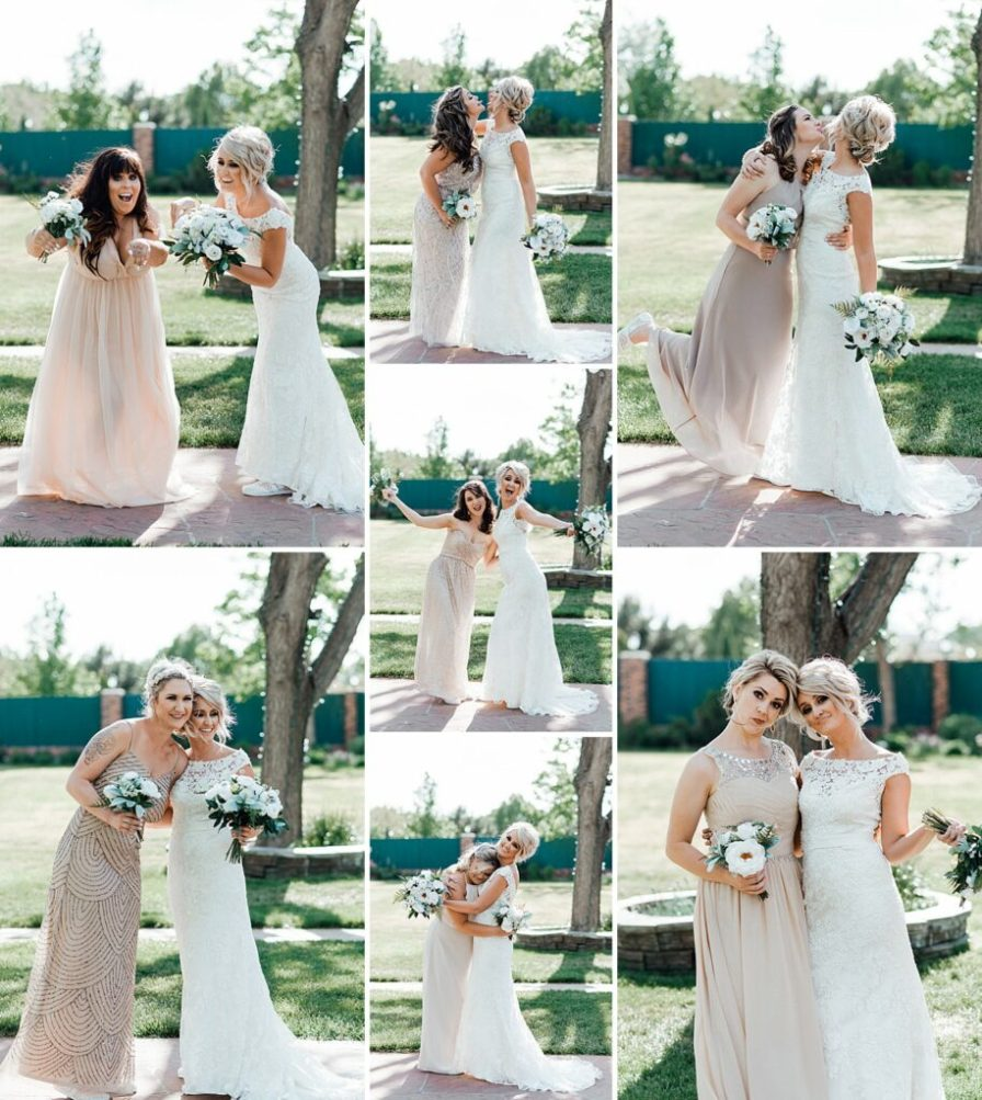 Bride and bridesmaids, bridesmaid photo ideas, champagne bridesmaid dresses, blush bridesmaid dresses