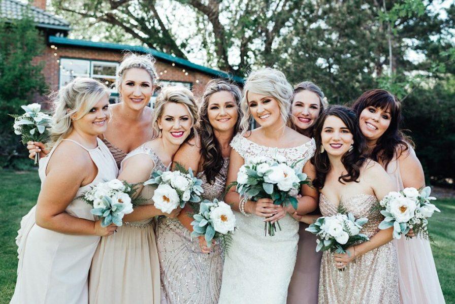 Bride and bridesmaids photo ideas, bridesmaid photo ideas, blush bridesmaid dresses, champagne bridesmaid dresses, blush bridesmaids dresses, bridesmaid dress ideas, bridesmaid bouquet ideas, wedding bouquet ideas